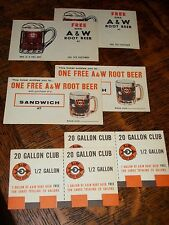 "24 Mint A&W ""FREE"" CARDS w/1960 Root Beer Red ARROW Glass Mug SODA Fountain NOS"