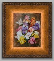 Iris Flowers Floral Blooms Still Life Framed Original Oil Painting YARY DLUHOS
