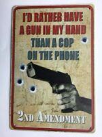 Second Amendment Revolver Gun Tin Metal Sign New