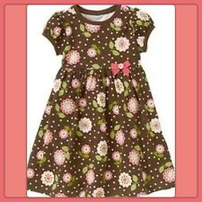 NWT 5 gymboree EQUESTRIAN CLUB jersey Cotton Floral short sleeve DRESS BROWN