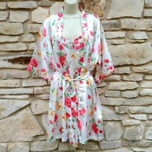 Floral Satin Peignoir Set Nightgown Robe Women's Med White Pink Secret Treasures