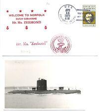 NEDERLAND ONDERZEEBOOT SUBMARINE 1972  OZB S 809 = ZEEHOND = 1 x CV + FOTO