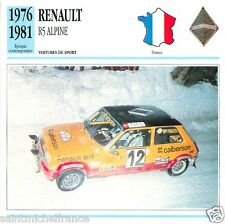 RENAULT R5 ALPINE 1976 1981 CAR VOITURE FRANCE CARTE CARD FICHE