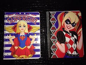 DC Superhero Girls Lot Of 2 Spiral Notebooks. Harley Quinn And Supergirl
