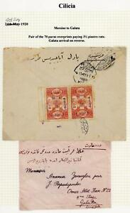 French Colonies Cilicia 1920 RARE Cover Mersine to Galata, Constantinople, LOOK!
