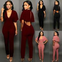 Women Ladies Clubwear Playsuit V-neck Bodycon Party Jumpsuit&Romper Trousers
