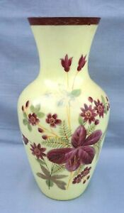 """Victorian Art Glass Hand Painted Enameled Yellow Opaline Large 12"""" Vase 19th C"""