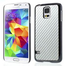 Samsung Galaxy S5 G900 Hard Case Carbon Fiber OPTIK Schutz hülle Cover Silber