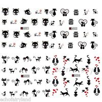 Black Cat Heart Pattern Nail Art Water Decals Transfer Stickers Manicure Decors