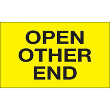 """3"""" x 5"""" - """"Open Other End"""" (Fluorescent Yellow) Labels - 500 Per Roll"""