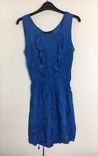 Miss Selfridge Blue Sleeveless Ruffle Front Dress Size 8 - Viscose (B11)