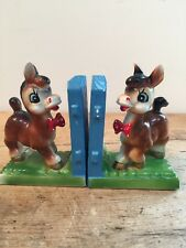 SMALL CHINA BOOKENDS - C. 1950S - DONKEYS