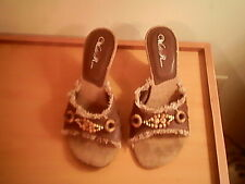 Wild Rose open toe backless brown sandals, 7.5 M, man made materials, beads