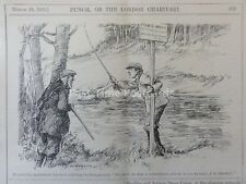 1914 18th March GAME KEEPER AND THE TRESPASSING ANGLER FISHING Punch Cartoon