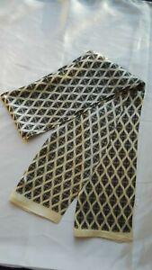 Men 100% Mulberry Silk Scarf Double Layer Print Cravat Neckerchief Vintage Beige
