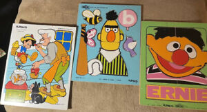 Lot Of 3 Vintage Playskool Pinocchio, Bert, Ernie Wooden Puzzle 1973 066