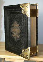 Antique c1885 Family Bible  BRASS CORNER CLASPS beautiful