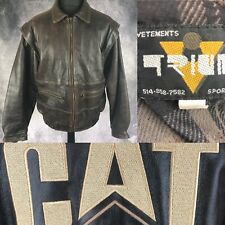 Vetements Sport Inc CAT Caterpillar Brown Leather Jacket Motorcycle Bomber XL