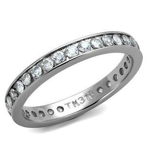 Women's Clear Round CZ Stainless Steel Eternity Wedding Anniversary Band Ring
