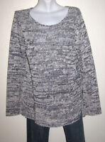 Ann Taylor Women's Gray & White Linen Rayon Knit Long Sweater Size Large
