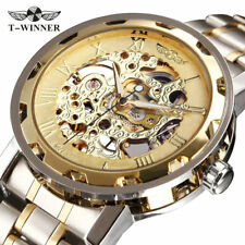 Men's Transparent Steampunk Skeleton Boxed Stainless Steel Mechanical Watch AU