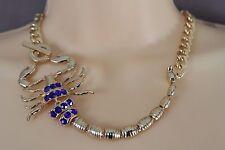 Animal Women Gold Metal Chain Short Necklace Blue Rhinestone Scorpion Sexy Style