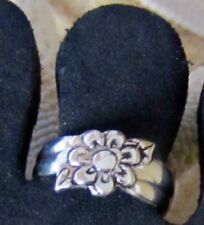 TOE RING STERLING SILVER 925 ADJUSTABLE SOLID BAND FLOWER MIDI BEACH womens new