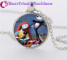 NEW Nightmare Before Christmas jack  and sally glass silver necklace#YKL22