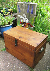 Lovely vintage PINE CHEST Solid wood antique storage trunk box side coffee table