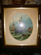 Nautical Art SHIPS, HARBOUR + STORMY SEA Oleograph Lithograph PRINT Painting Vtg