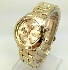 062u New Women's Fashion Luxury Gold Strap Wrist Watch Chronograph Dial Quartz