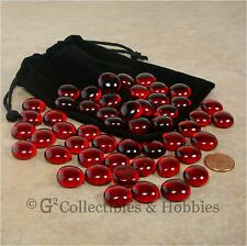 NEW 50 Red Glass Gaming Stones & Bag Set RPG Game D&D Hit Point Markers Counters