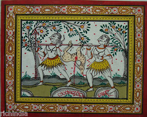Tribal Hunter Miniature Painting Paper antique Shop Art forest hunting Tribes
