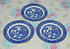 Alfred Meakin Old Willow Set 3 Willow Pattern Side Plates. 16.5 cms Diameter.