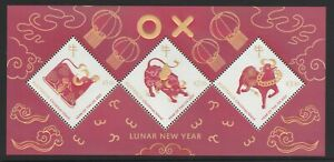 CHRISTMAS IS  2021 Year of the OX  set of 3 in MINISHEET MNH - Chinese New Year