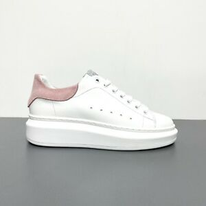 """Sneakers ML Tipo """"Mcqueen"""" Donna In Pelle Camoscio Bianco/Rosa Made in Italy"""