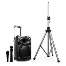 Impianto Audio Portatile Bluetooth Cassa Trolley Stativo Microfoni 200W Rms Top!
