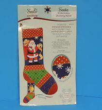 Needle Creations Santa Embroidery Stocking Panel New
