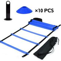 19 Ft/12 Rung Ladder Football Disc Cones Soccer Speed  Training Aids Kit