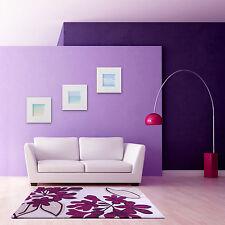 Floral Art Realm Flower Plum Purple Beige Luxury Wool Rug in various sizes