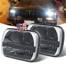 "Pair 7x6"" 5x7"" LED Hi-Lo Sealed Beam Headlights For Jeep Cherokee XJ Ford Truck"