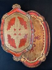 Pair of Vintage Hand Painted Italian Florentine Wood Trays Made in Italy