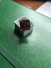 Giant Red Synthetic Stone Silver Ring Size 7.25