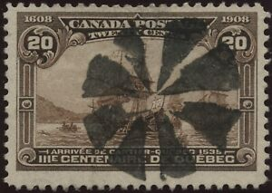 Canada 1908 #103 20c brown Cartier's arrival used Quebec Tercentenary Issue