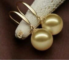 AAA 16mm round Australian south sea gold shell pearl earrings 14K gold
