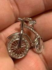 🔥🔥Custom  18k White GOLD Diamonds Bicycle Bike Brooch Pin .750 🔥🔥