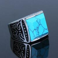 Mens turquoise ring blue signet square stainless steel silver pinky mans new 304
