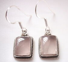 Rose Quartz with Fine Rope Style Accents 925 Sterling Silver Dangle Earrings