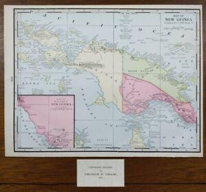 "Vintage 1903 NEW GUINEA  Map 14""x11"" Old Antique Original ARAWA LAE PAPUA KOKOPO"