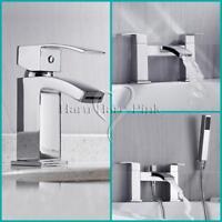 Modern Chrome Square Bathroom Basin Mixer Bath Filler Shower Deck Mount Tap Set